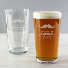 Personalised Moustache Pint Glass Gift Ideas for Men Birthday Xmas Father's Day