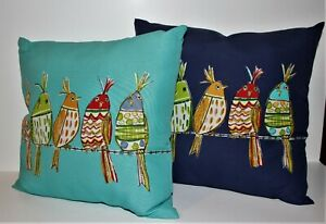 """ROW of BIRDS ON A WIRE Indoor/Outdoor SET of 2 THROW PILLOWS 2 sided 15""""x15"""""""