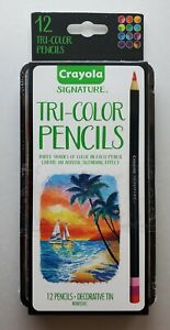 Crayola Tri-Color 12 Ct Colored Pencils Decorative Tin