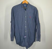 Ralph Lauren Polo Large Long Sleeve Button Front Shirt Blue Plaid