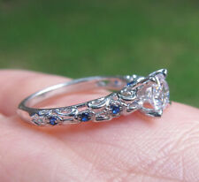 1Ct Off White Moissanite Vintage Art Deco Engagement Ring Wedding 925 Silver