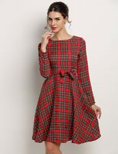 """AILEEN"" BEAUTIFUL LADIES SIZE 6 RED TARTAN PLAID ROCKABILLY RETRO SWING DRESS"