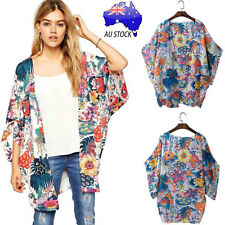 Plus Size AU Women Retro Floral Print Chiffon Kimono Loose Cardigan Tops T Shirt