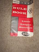NICE 1962 VINTAGE LITTLE LEAGUE BASEBALL RULE BOOK
