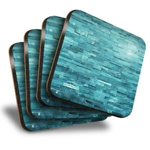 Set of 4 Square Coasters - Teal Stone Wall Interior Design  #15835