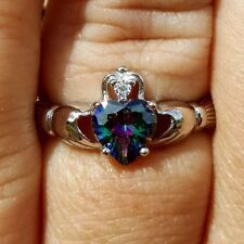 .925 Sterling Silver Ring CZ Heart Claddagh Rainbow Mystic Ladies Size 3-13 New