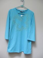 QUACKER FACTORY Turquoise Butterfly Sparkly Spray Motif T-Shirt L