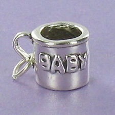 Baby Cup Charm Sterling Silver for Bracelet Raised Letters New Mom Shower Gift