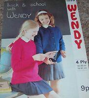 Original Vintage Wendy Knitting Pattern Girls 4Ply Cardigan & Sweater No 1599