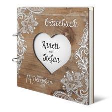 Hochzeit Gästebuch Holzcover lasergeschnitten individuell Rustikal 144 Seiten