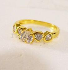 Size N Ring 24K Yellow Gold Plated Sweet Heart Love CZ Engagement Wedding UK
