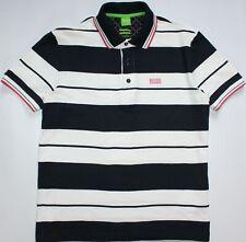 Hugo Boss Paddy 1 Modern Fit Polo Shirt - Medium M - White & Navy Striped - Mens
