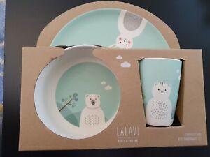 LALAVI 3 Pc, Bamboo Fibre, Child's Dinner Set. Animal, Eco Friendly, Kids