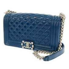 CHANEL Boy Chanel Matelasse 25 Patent Leather Blue A67086 CC Chain Shoulder Bag