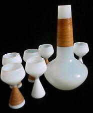 50s Jacob Bang Kastrup Holmegaard Opaline Bast Karaffe + Gläser glass decanter