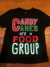 boys Candy Canes Are Food Group s/s Christmas T Shirt tee Black okie dokie Sz 4