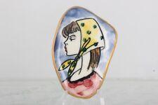 Ceramic Lady With Scarf Brooch Fashion 5046B