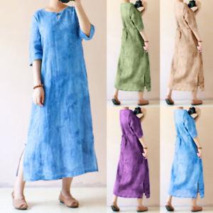 Women Ladies Kaftan Half Sleeve Plain Casual Oversize Maxi Long Dress Robe Gown
