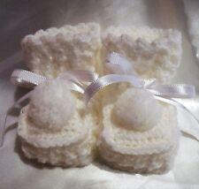 HANDMADE CROCHET BABY REBORN DOLLS BOOTIES SHOES WHITE NEWBORN 0-3 Months