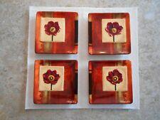 "Mww Market Mediterranean Florals - 4.5"" Mini Plate Set 4Pc Square Poppy Rust Red"