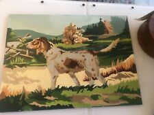 Vintage Paint By Number Pointer Dog Spaniel In Field