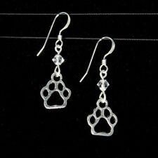 """SJ1"" Dog Cat Paw Charm Sterling Silver Dangle Earrings w/ Swarovski Crystal"