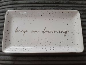 White And Silver Bits And Bobs Jewellery Trinket Tray Keep on Dreaming
