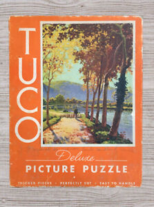 "Vintage Tuco DELUXE Picture Puzzle ""Path Along The Seine "" 16""x20"".    #A80"
