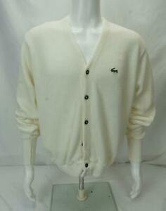 Izod & Lacoste Long Sleeve Cardigan Sweater White Men's XL