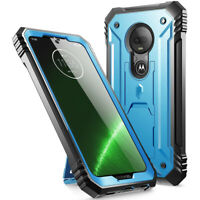 Moto G7 / G7 Plus,Poetic® [Dual Layer] Shockproof Hard Shell Case Cover Blue