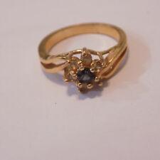 Ladies Costume Jewellery Large Ring Gold Tone Faux saphire/ Diamond  (90)