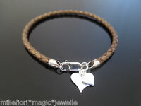 """3mm Brown Braided Leather Bracelet & 925 Sterling Silver Heart Charm 7"""" 8"""" 9"""""""