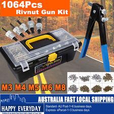 1064Pcs Blind Rivnut Rivet Nut Nuts Gun M3 to M8 Rivnuts Nutsert Tool Kit Set AU