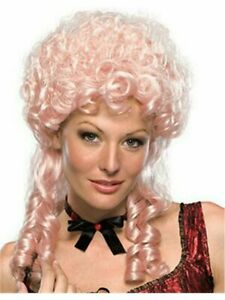 Sweet Marie Pink Wig, Updo Victorian, Saloon Girl Curly Ringlets, Southern Belle