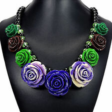 Vintage Rose Bib Statement Necklace Handcrafted Designer Jewellery Tantric Tokyo