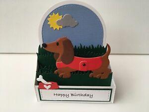 Handmade card pop up Dachshund in grass card.