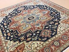 """Persian Oriental Rug Square Serapi Hand Knotted Navy Blue Rust 9'.10"""" X 9'.10"""""""