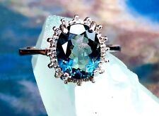 14K WHITE GOLD OVER STERLING SILVER 3 CARAT AAA GRADE LONDON BLUE TOPAZ RING