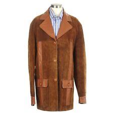 Vintage Bespoke Leather & Suede Men's Full Norfolk Jacket Coat Blazer Size 42