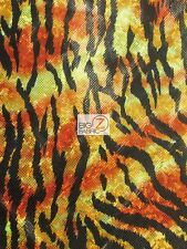 HOLOGRAPHIC FOIL DIVERSE PRINT SPANDEX FABRIC - Flaming Tiger - BY YARD COSTUME