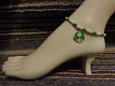 bracelet beads anklet stretchy beach Green Mushroom mario enamel charm ankle