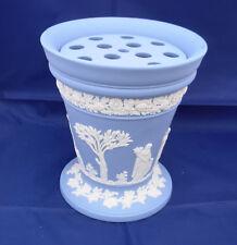 """Wedgwood Arcadian Trumpet Vase lg 6.5"""" frog flower holder disc Blue England vtg"""