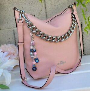 Coach 45066 Abby Duffle w/CHAIN Leather HOBO crossbody bag purse PETAL PINK