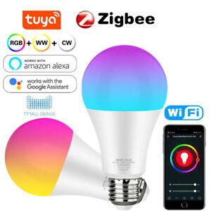 Zigbee Smart Wifi LED Light Bulb E27 Screw RGB Dimmable for Alexa Google 18W