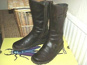 FLY London Dark Brown Ladies Leather Boos Size UK 5, 38