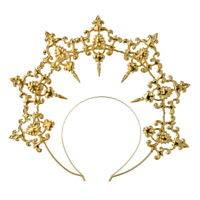 Lolita Girls Halo Crown Cross Golden Headband Virgin Mary Party Headwear