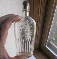 HERE'S A SMILE TO THOSE I LOVE 1890s MOTTO POCKET WHISKEY FLASK LC&R EMB