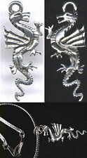 """Silver Pewter Pendant Replica Ancient China Dragon """"Lung"""" Alligator Totem 6000BC"""