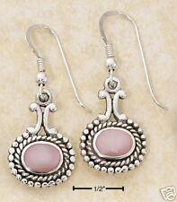 STERLING SILVER SMALL WIDE OVAL PINK MOP W/ DOTS & ROPE