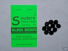 8mm Round, Faceted, Fire Polished Glass Beads - Black
